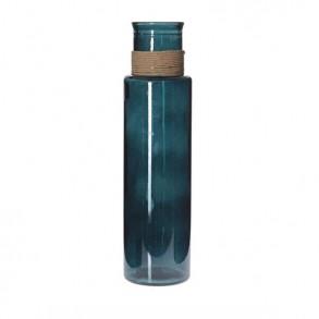 Διακοσμητικό γυάλινο βάζο με σχοινί 14x55cm