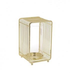 Χρυσό μεταλλικό κηροπήγιο 13x13x22cm
