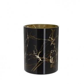 Μαύρο γυάλινο κηροπήγιο 20x20cm