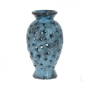 Κεραμικό βάζο σε αντικέ μπλε απόχρωση