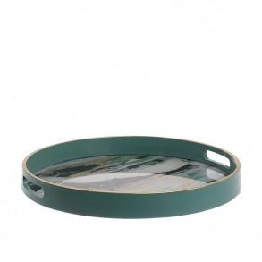 Ξύλινος δίσκος με μαρμάρινη όψη 37x4.5cm