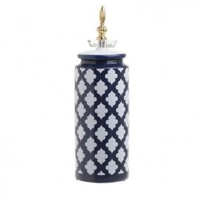 Βάζο με καπάκι κεραμικό λευκό μπλε
