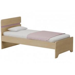 Παιδικό κρεβάτι μονό σε φυσικό χρώμα με ροζ ρίγα