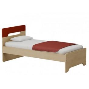 Παιδικό κρεβάτι μονό σε φυσικό χρώμα με κόκκινο κεφαλάρι