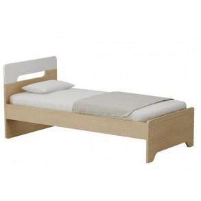 Παιδικό κρεβάτι μονό σε φυσικό χρώμα με λευκό κεφαλάρι