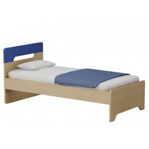 Παιδικό κρεβάτι μονό σε φυσικό χρώμα με μπλε κεφαλάρι
