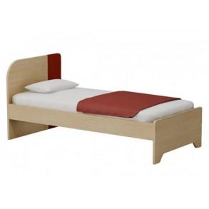 Παιδικό κρεβάτι μονό/Ημίδιπλο σε φυσικό/ κόκκινο χρώμα