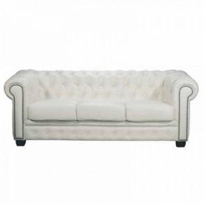 Kαναπές 3Θ δερμάτινος Chesterfield λευκός