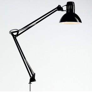 Φωτιστικό  γραφείου με σφιχτήρα σε μαύρο χρώμα  Φ17