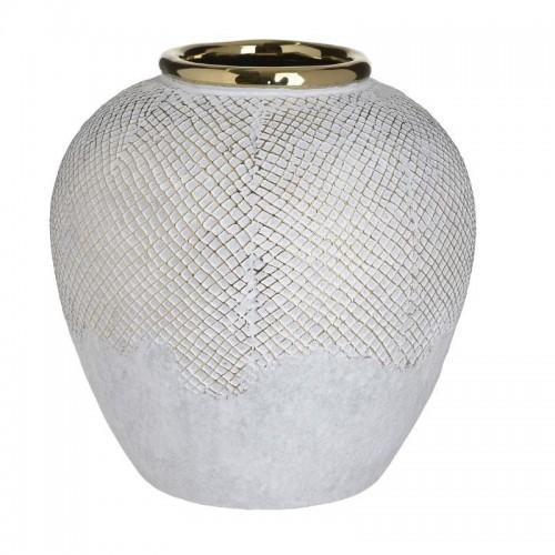 Βάζο κεραμικό λευκό χρυσό