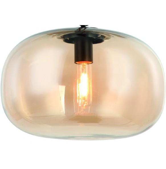 Γυάλινο διάφανο φωτιστικό σε μελί απόχρωση Ø35cm