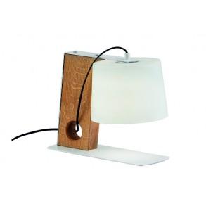 Επιτραπέζιο γυάλινο φωτιστικό με ξύλινη βάση L19x32