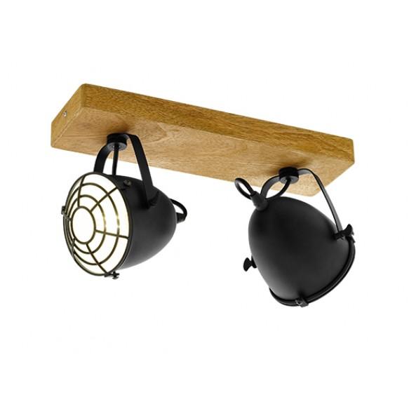 Μεταλλικά spot οροφής σε ξύλινη ράγα L36cm