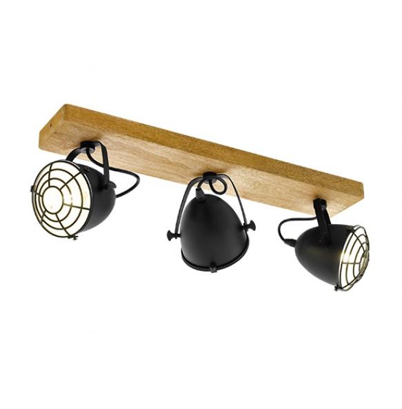 Μεταλλικά spot οροφής σε ξύλινη ράγα L59cm