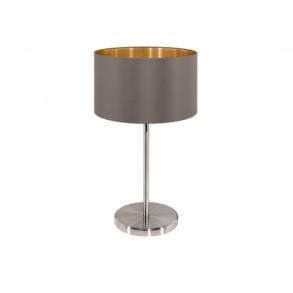 Μεταλλικό επιτραπέζιο φωτιστικό με υφασμάτινο καπέλο Ø23