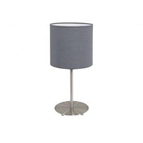 Μεταλλικό επιτραπέζιο φωτιστικό με υφασμάτινο καπέλο Ø18