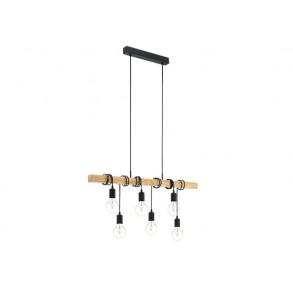 Κρεμαστή ξύλινη πολύφωτη ράγα L100cm