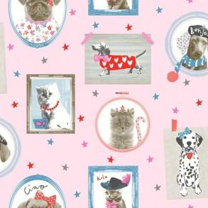 Ταπετσαρία τοίχου-Γάτα & Σκύλος
