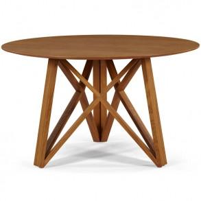 Ξύλινο στρογγυλό τραπέζι σε μοντέρνο σχέδιο