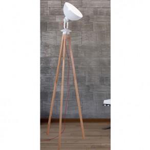 Φωτιστικό δαπέδου με ξύλινη βάση τρίποδο