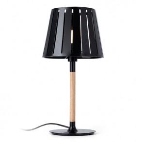 Μαύρο επιτραπέζιο φωτιστικό μεταλλικό με ξύλινες λεπτομέρειες