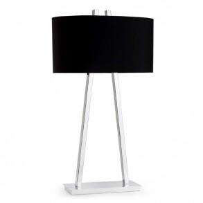 Επιτραπέζιες λάμπες με υφασμάτινα καπέλα σε μαύρο χρώμα