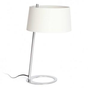 Επιτραπέζιο φωτιστικό με μεταλλικό σκελετό και λευκό καπέλο
