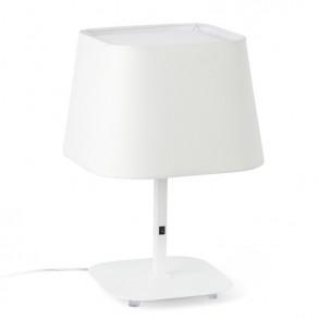 Επιτραπέζια λάμπα με λευκή βάση και λευκό καπέλο