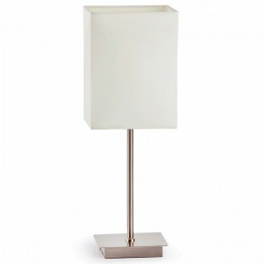 Επιτραπέζια λάμπα design με λευκό υφασμάτινο καπέλο