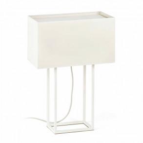 Design επιτραπέζια λάμπα με μπεζ υφασμάτινο καπέλο