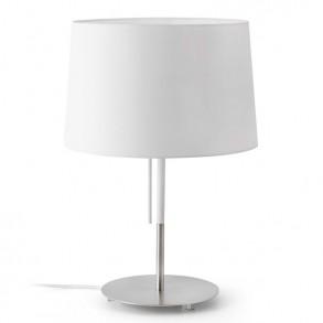 Επιτραπέζια λάμπα με υφασμάτινο καπέλο σε λευκή απόχρωση
