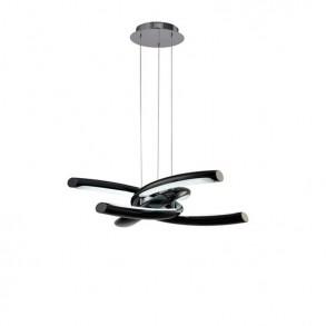 Φωτιστικό οροφής LED μονόφωτο από πολυμερές και ακρυλικό μαύρο