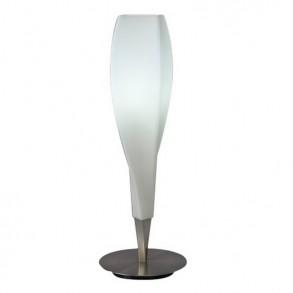 Επιτραπέζιο φωτιστικό design από μέταλλο και γυαλί με λεπτομέρεια νίκελ σατινέ