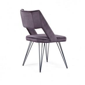 Καρέκλα τραπεζαρίας με μεταλλικά πόδια και μοντέρνο σχεδιασμό πλάτης