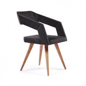 Καρέκλα τραπεζαρίας με ξύλινα πόδια και ιδιαίτερο σχεδιασμό