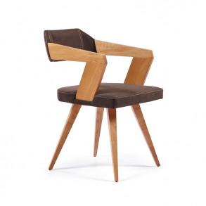 Μοντέρνα καρέκλα τραπεζαρίας με ξύλινα μπράτσα